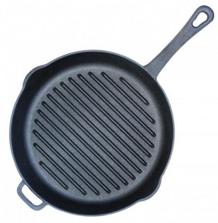 Большая Сковорода гриль чугунная с литой ручкой Биол d 280 мм, h 55 мм - Запоріжжя 1
