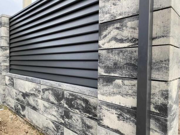 Паркан з блоків в стилі Лофт, з секціями Ранчо - Сокаль 0