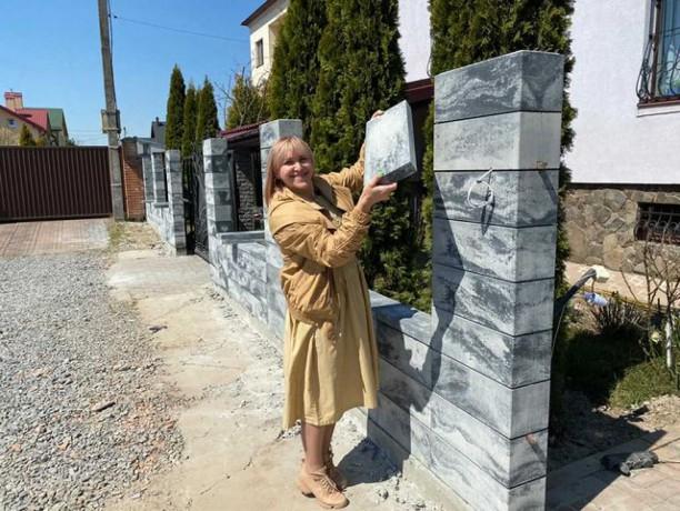 Паркан з блоків в стилі Лофт, з секціями Ранчо - Сокаль 5